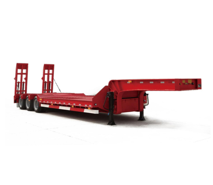 Flat low bed semi-trailer